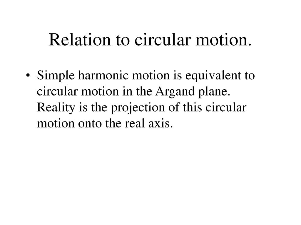 Relation to circular motion.