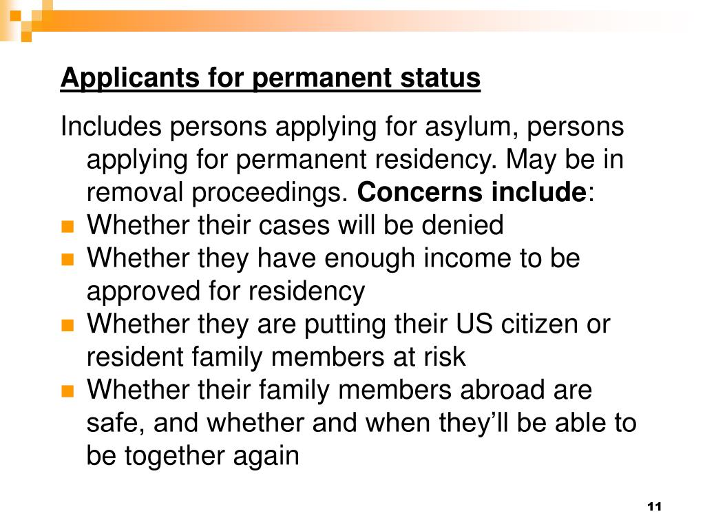 Applicants for permanent status