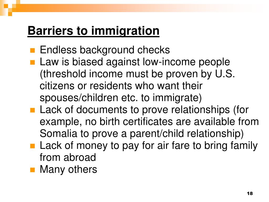 Barriers to immigration