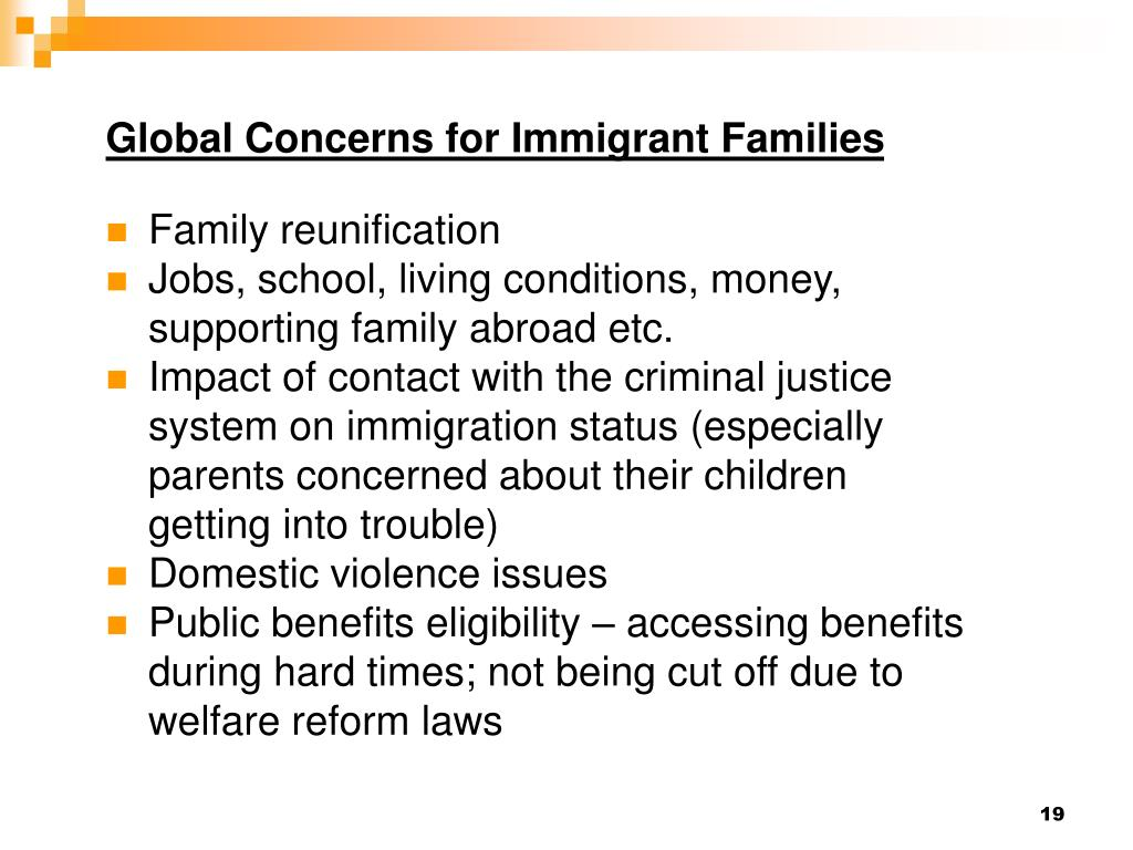 Global Concerns for Immigrant Families