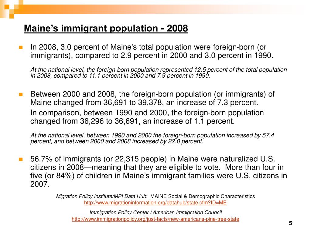 Maine's immigrant population - 2008