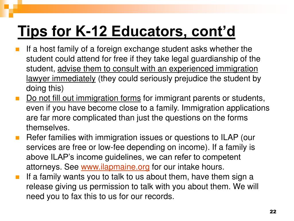 Tips for K-12 Educators, cont'd