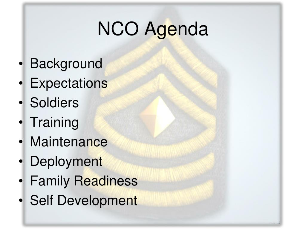 NCO Agenda