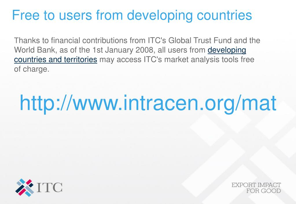 Free to users from developing countries