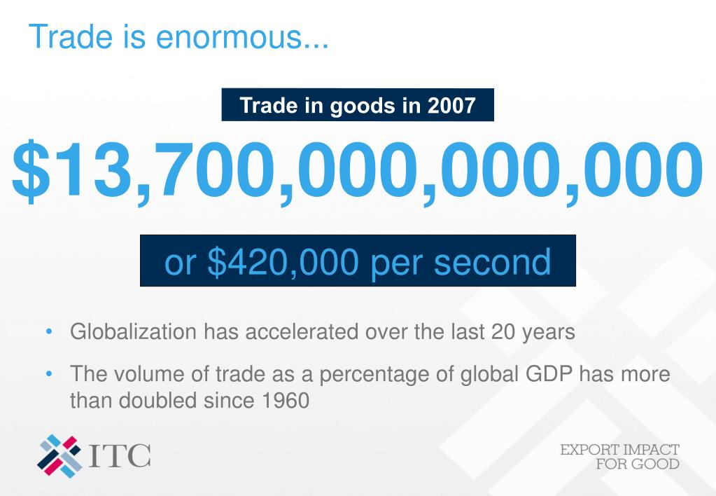 Trade is enormous...