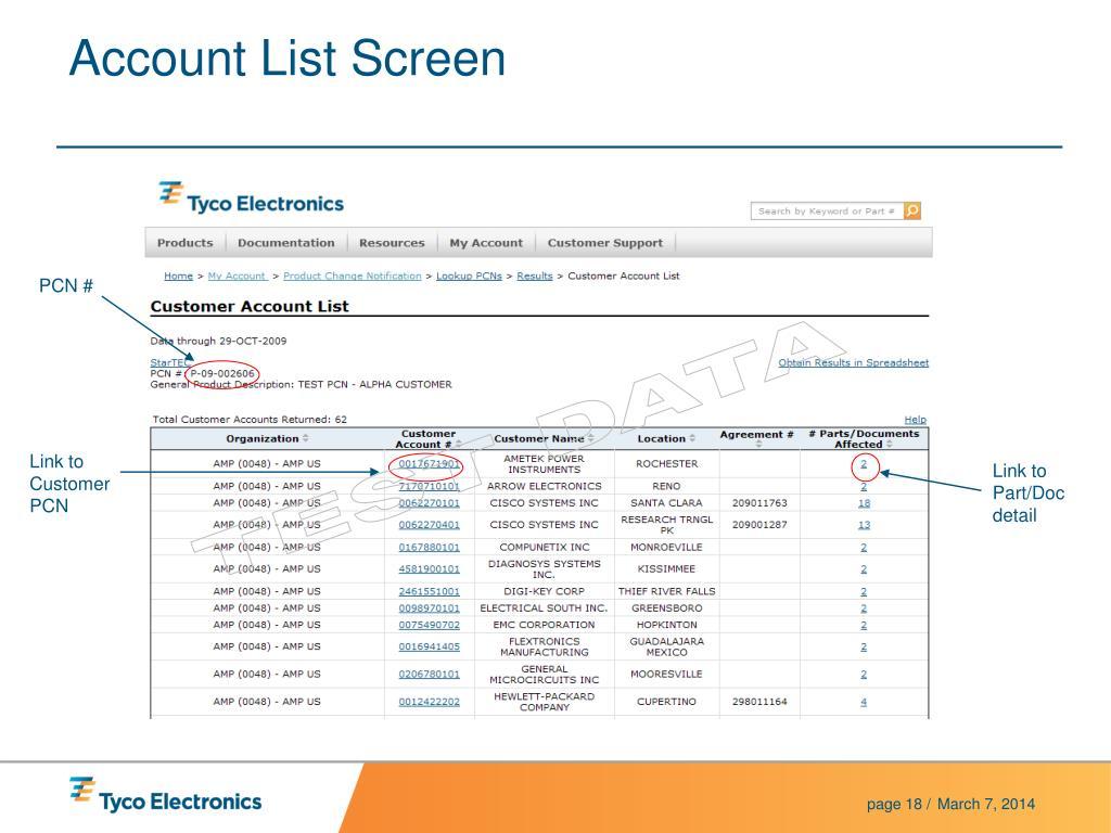Account List Screen
