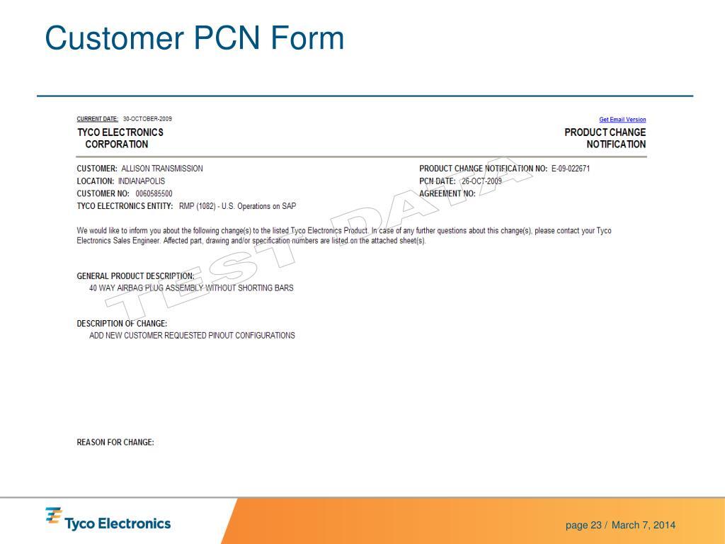 Customer PCN Form