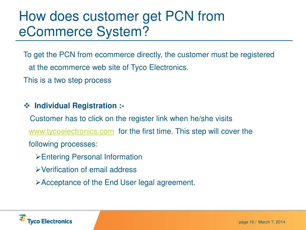 How does customer get PCN from eCommerce System?