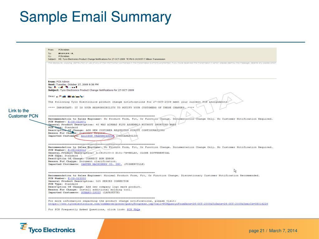 Sample Email Summary