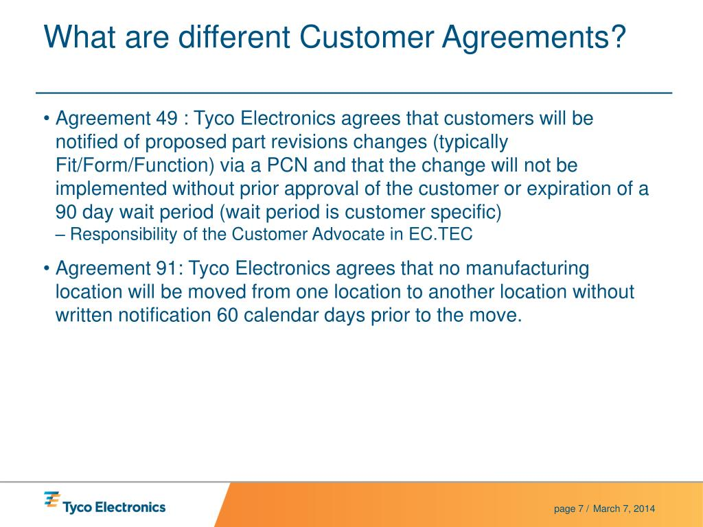 What are different Customer Agreements?