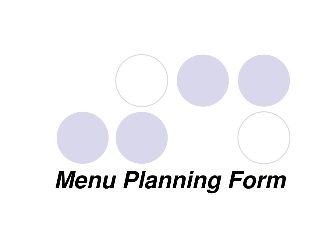 menu planning form
