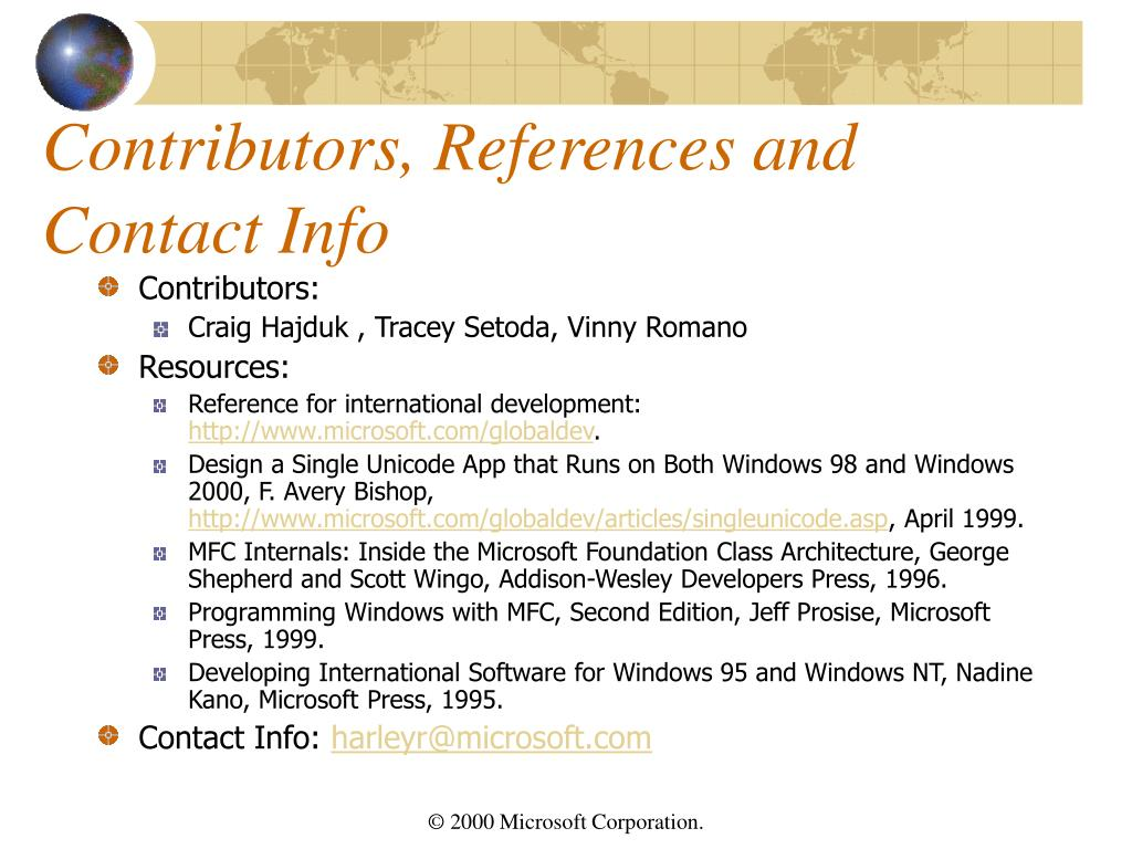Contributors, References and Contact Info