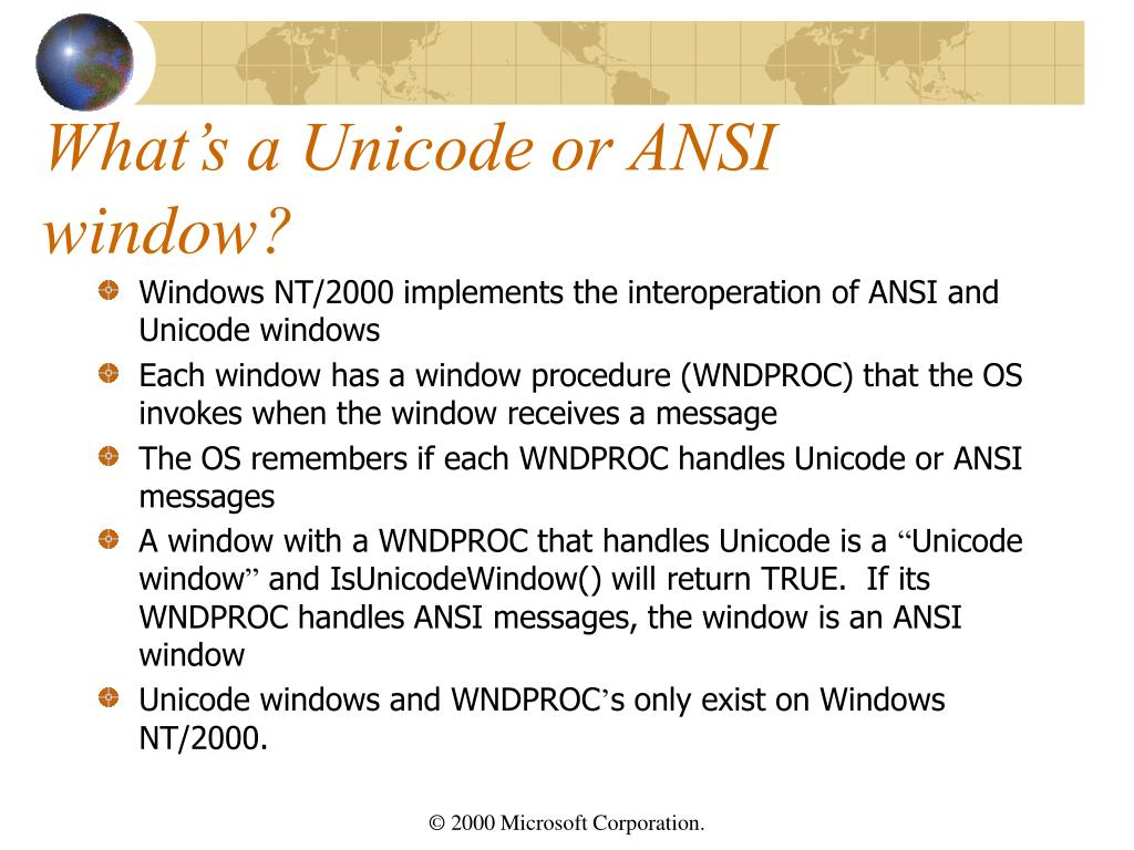 What's a Unicode or ANSI window?
