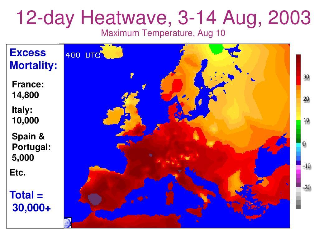 12-day Heatwave, 3-14 Aug, 2003