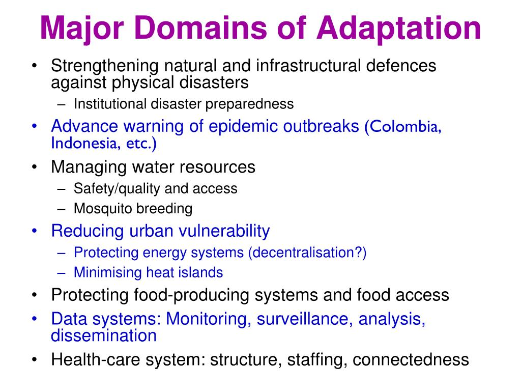 Major Domains of Adaptation