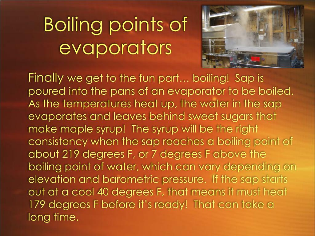 Boiling points of evaporators