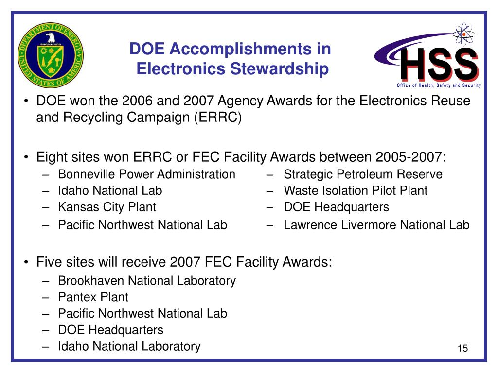 DOE Accomplishments in
