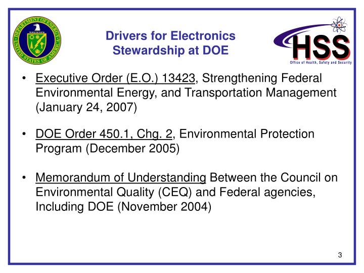 Drivers for electronics stewardship at doe