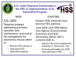 e o 13423 requires partnership in the fec or implementation of an equivalent program