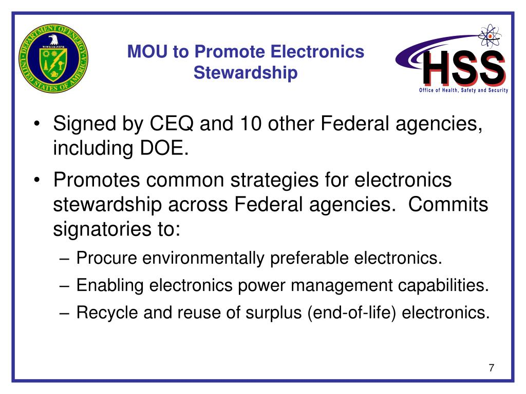 MOU to Promote Electronics Stewardship