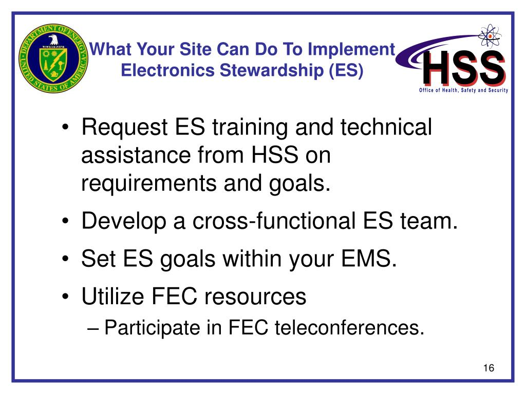 What Your Site Can Do To Implement Electronics Stewardship (ES)