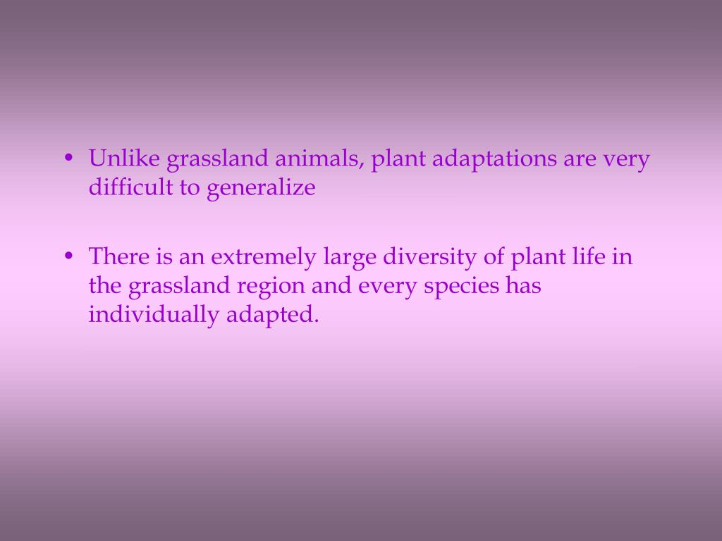 Unlike grassland animals, plant adaptations are very difficult to generalize