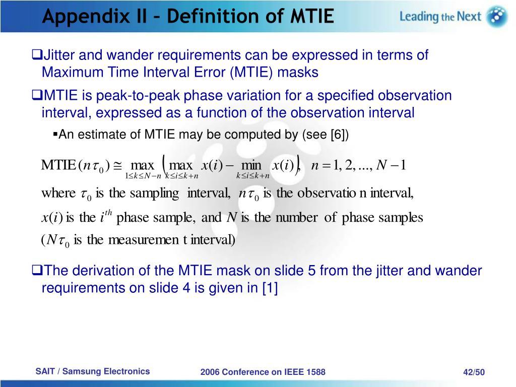 Appendix II – Definition of MTIE