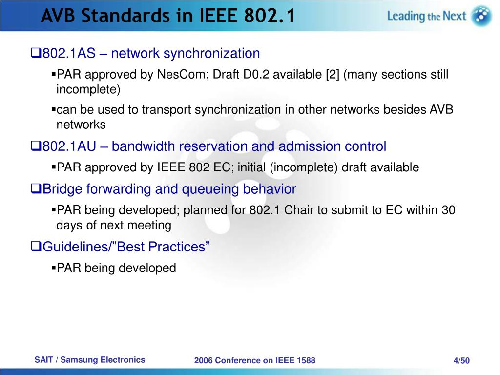 AVB Standards in IEEE 802.1