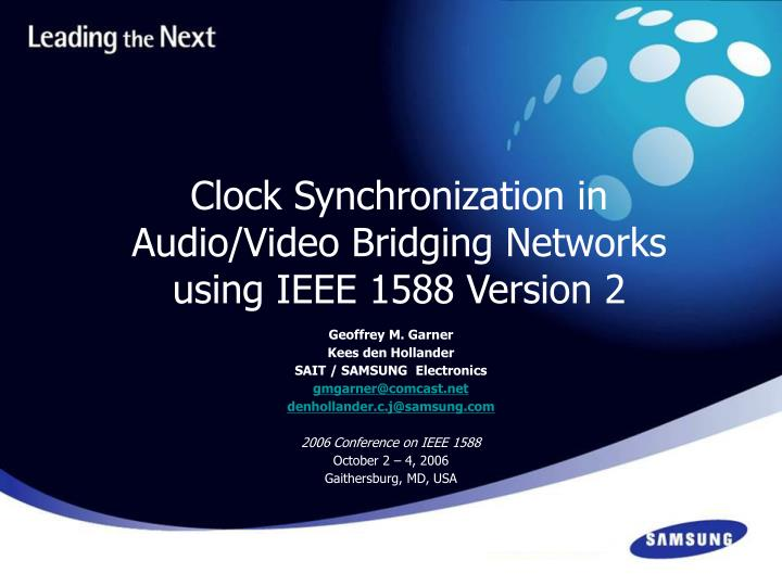 Clock synchronization in audio video bridging networks using ieee 1588 version 2