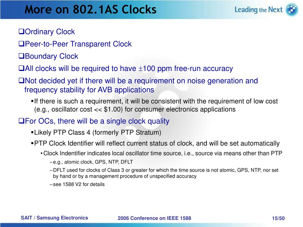 More on 802.1AS Clocks