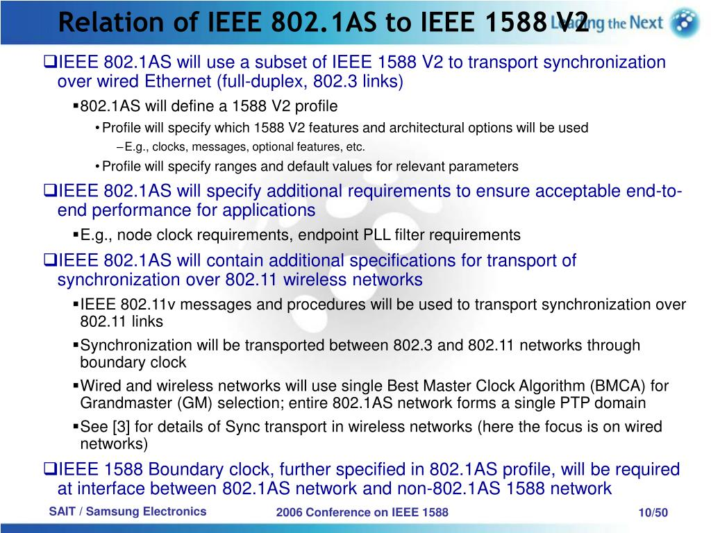 Relation of IEEE 802.1AS to IEEE 1588 V2