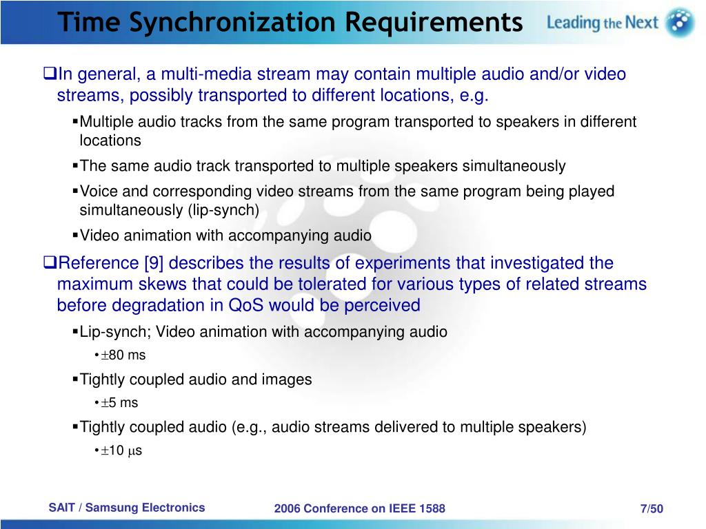 Time Synchronization Requirements