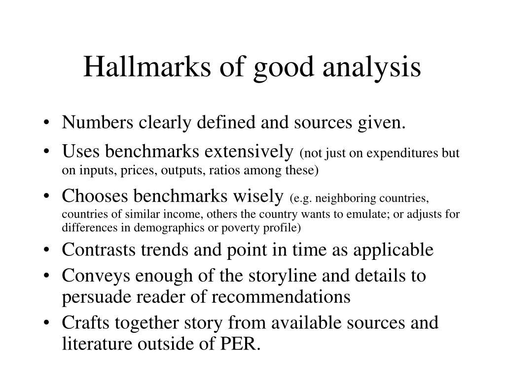 Hallmarks of good analysis