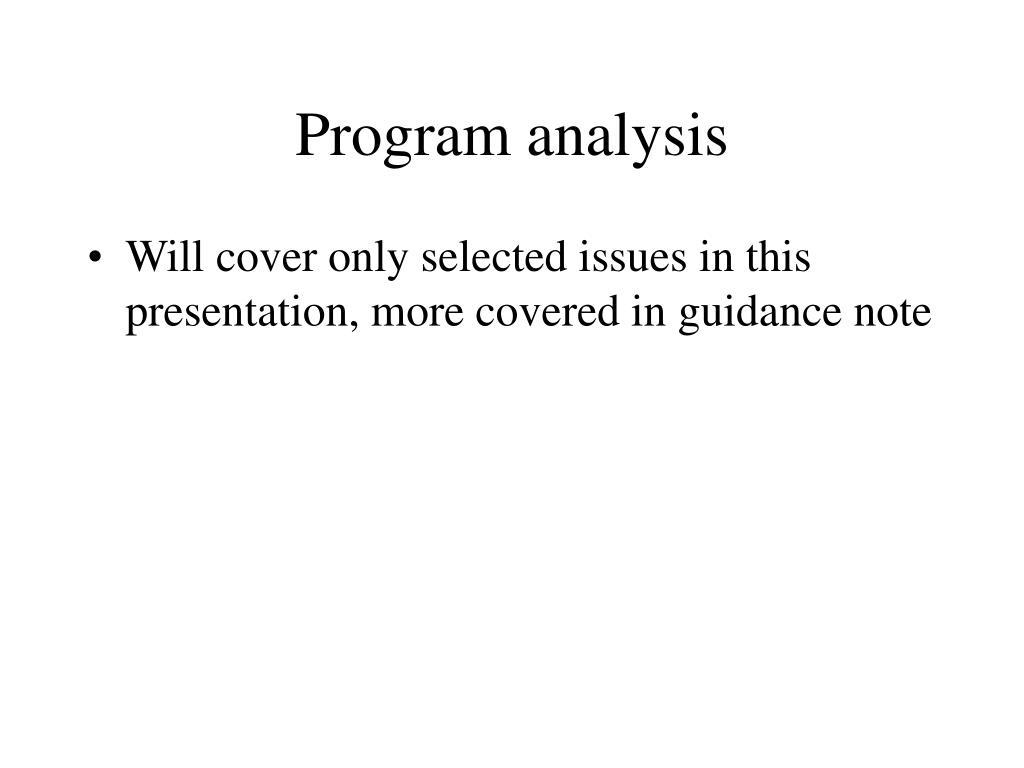 Program analysis