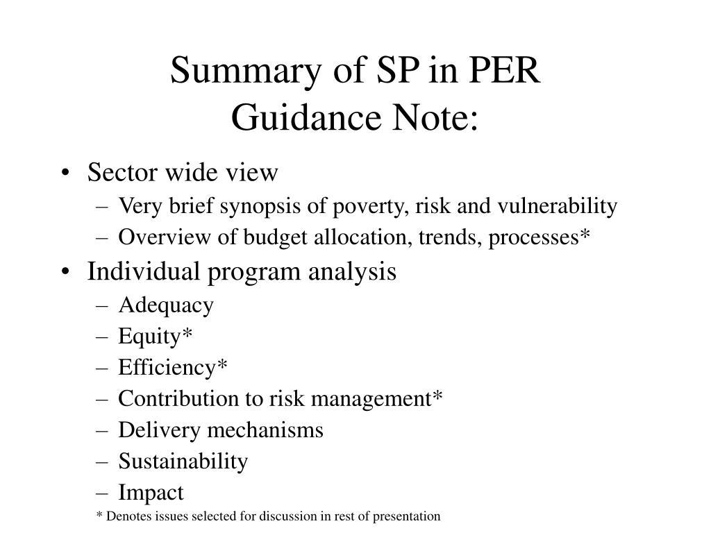 Summary of SP in PER