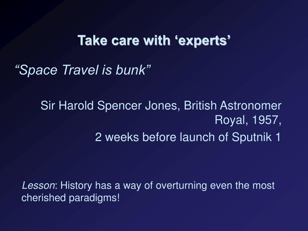 Take care with 'experts'