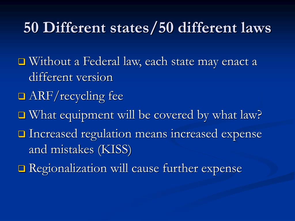 50 Different states/50 different laws