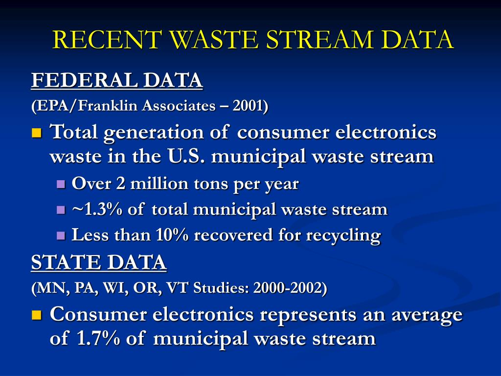 RECENT WASTE STREAM DATA