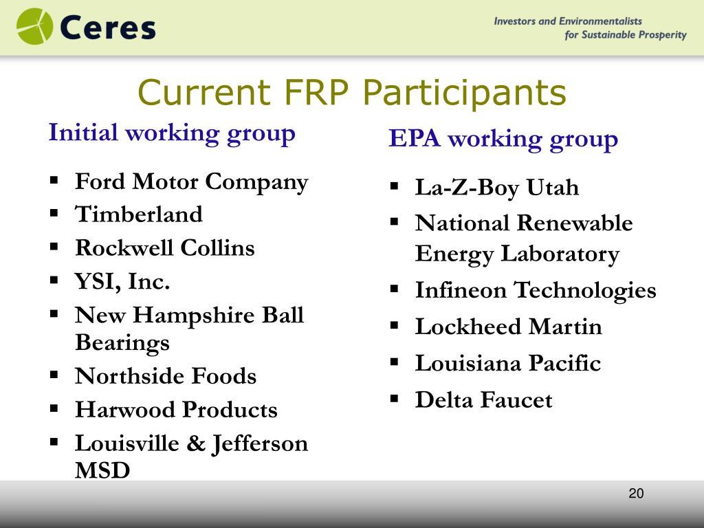 Current FRP Participants