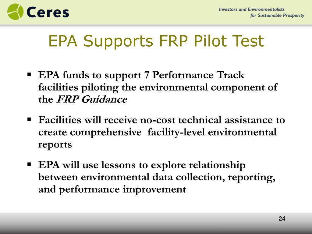EPA Supports FRP Pilot Test