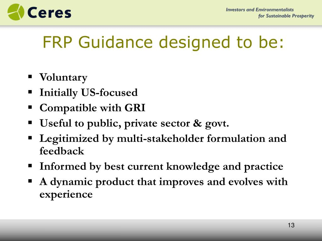 FRP Guidance designed to be: