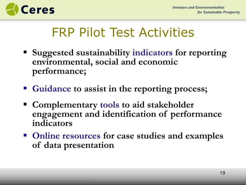 FRP Pilot Test Activities