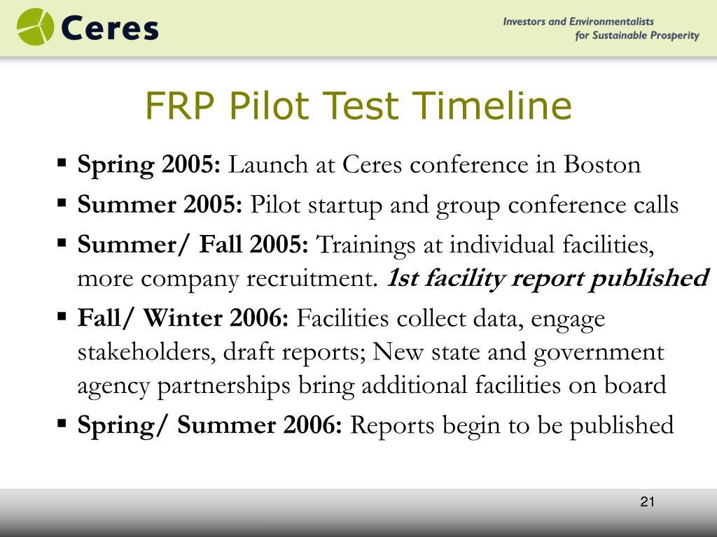 FRP Pilot Test Timeline