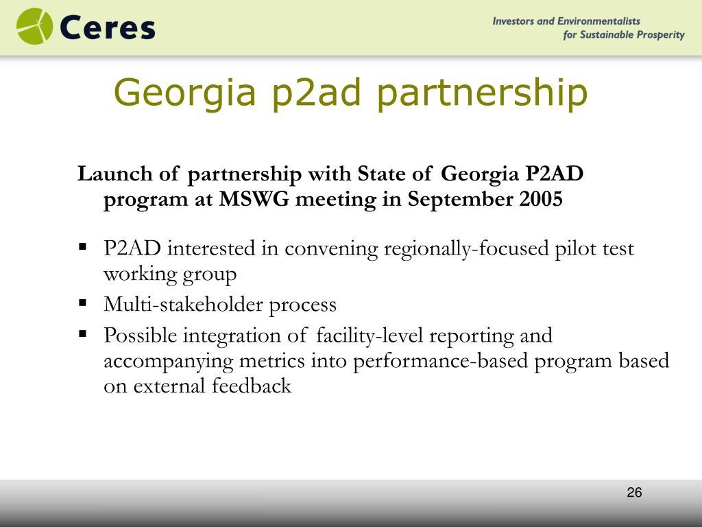 Georgia p2ad partnership
