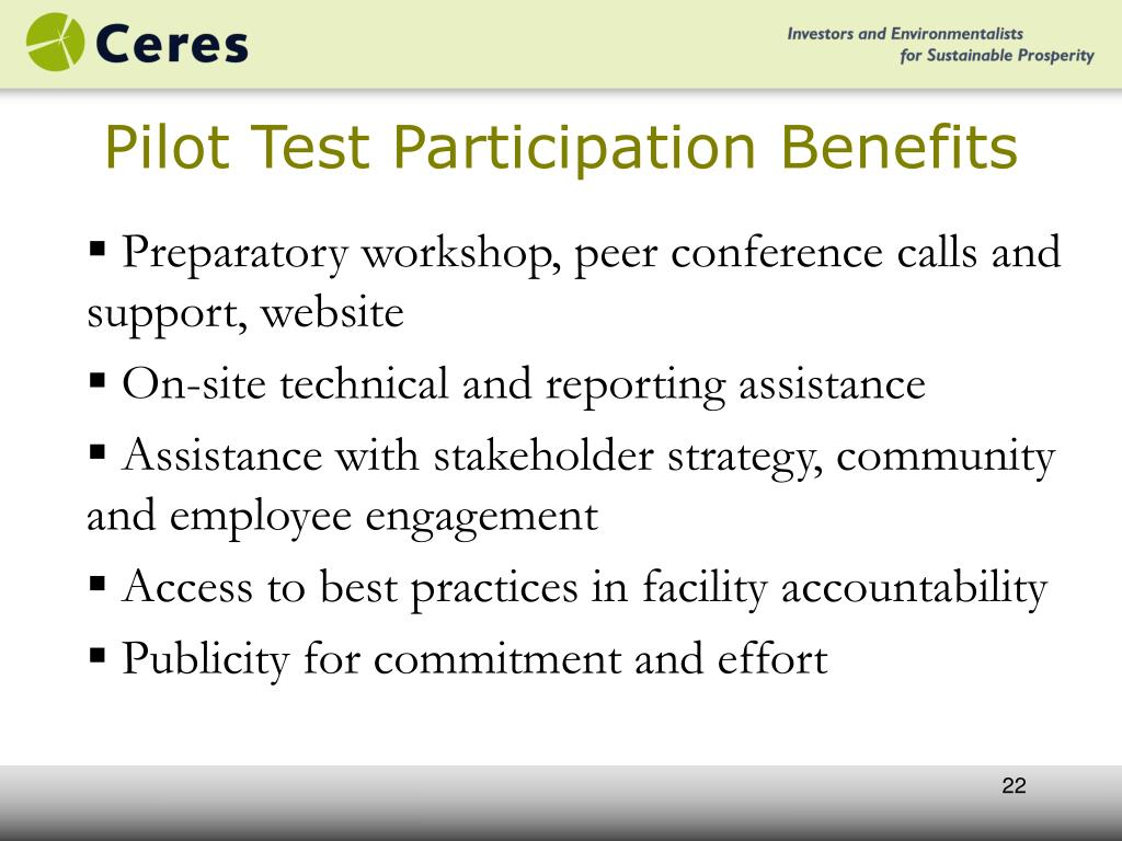 Pilot Test Participation Benefits