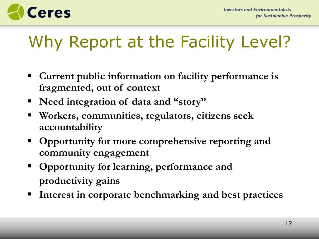 Why Report at the Facility Level?