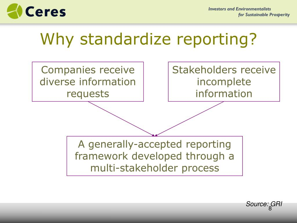 Why standardize reporting?