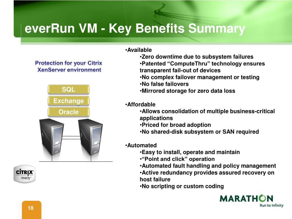 everRun VM - Key Benefits Summary