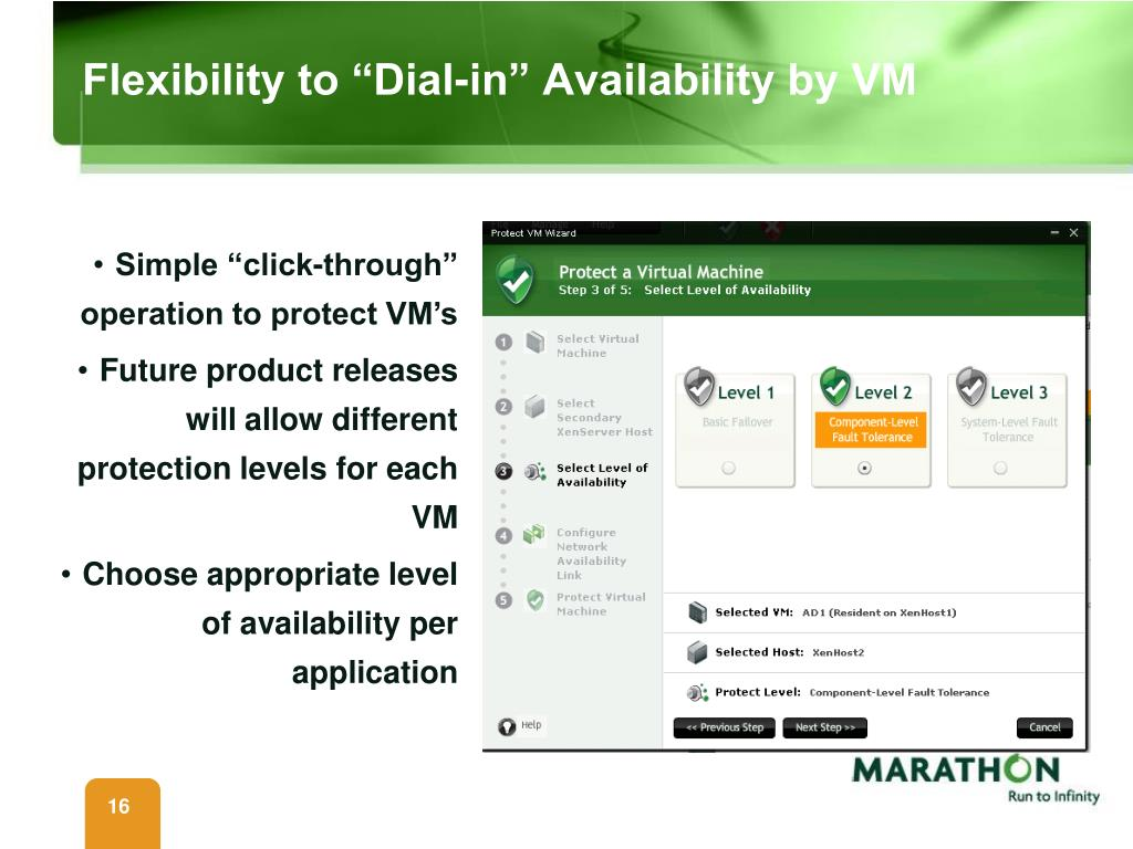 "Flexibility to ""Dial-in"" Availability by VM"
