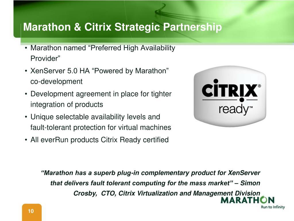 Marathon & Citrix Strategic Partnership